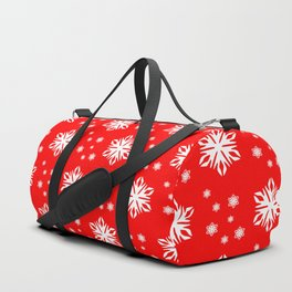 snow flake winter red pattern Duffle Bag