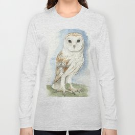 Barn Owl - Watercolor Long Sleeve T-shirt