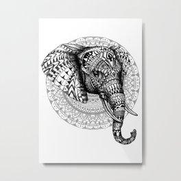 Mandala Elephant Metal Print