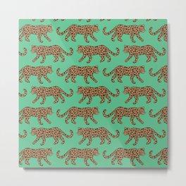 Kitty Parade - Classic on Jungle Green Metal Print