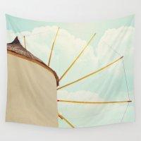 greece Wall Tapestries featuring Windmill Villa Santorini Greece by Sylvia C