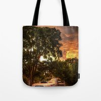 subaru Tote Bags featuring Subaru Impreza WRX STi Sunset by Kozicki Photography