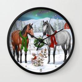 Christmas Horses Winter Farm Scene Wall Clock