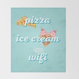 Pizza Ice cream Wifi Throw Blanket