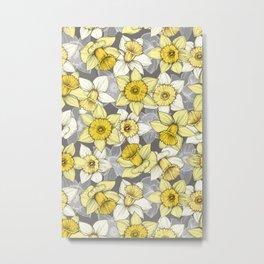Daffodil Daze - yellow & grey daffodil illustration pattern Metal Print
