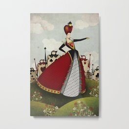 Off with their heads Queen of hearts from Alice in Wonderland Metal Print