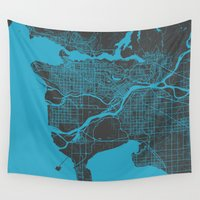 vancouver Wall Tapestries featuring Vancouver Map by Map Map Maps