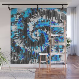 Black White and Blue Tie Dye Wall Mural