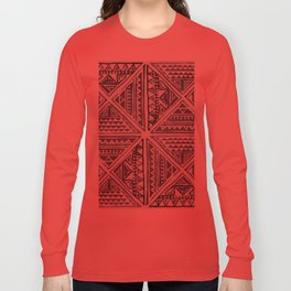Simply Tribal Tile in Indigo Blue on Lunar Gray Long Sleeve T-shirt