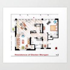 Floorplan of Dexter Morgan's Apartment v.2 Art Print