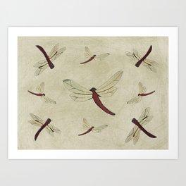 Parchment Dragonflies Art Print