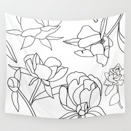 Roses, Black Line Drawing on White Wall Tapestry