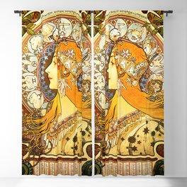 La Plume Zodiac - Alphonse Mucha Blackout Curtain