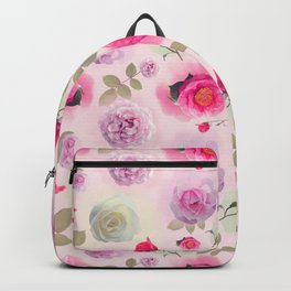 seamless   pattern with rose flowers . Endless texture Backpack