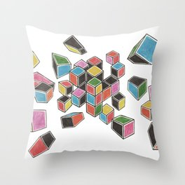 Exploded Rubik's Cube Throw Pillow
