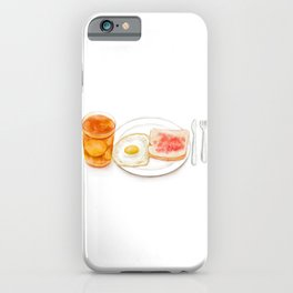 Watercolor Illustration of Western Breakfast - Fried Egg Toast Served with Lemon Red Tea iPhone Case