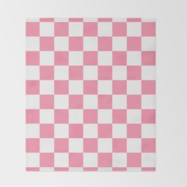 Checkered - White and Flamingo Pink Throw Blanket