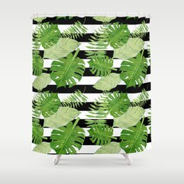 Tropical Leaf Mix III Shower Curtain
