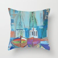 boats Throw Pillows featuring boats by melissa lyons