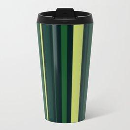 Yellow and Shades of Green Stripes Travel Mug