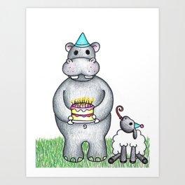 Hippo Birthday Art Print