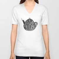cup V-neck T-shirts featuring TEA TIME. ANY TIME. by Matthew Taylor Wilson