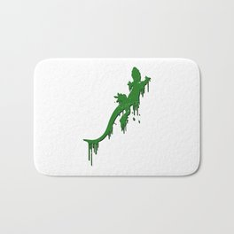 Distressed Green Salamander With Paint Drip Bath Mat