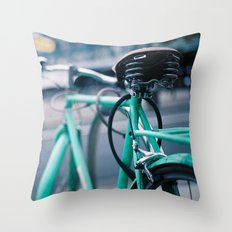 Riding Backwards Throw Pillow