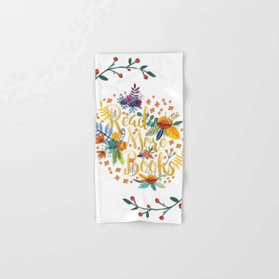 Read More Books - Floral Gold Hand & Bath Towel