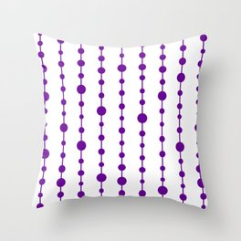 Purple vertical lines and dots Throw Pillow