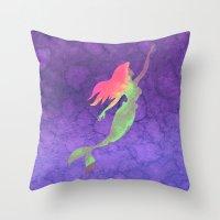 ariel Throw Pillows featuring Ariel  by foreverwars