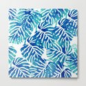 Tropical Leaves – Blue Abstract by judypalkimas