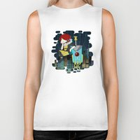 transistor Biker Tanks featuring Transistor Welcome to Cloudbank by Cycha