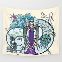 literary Wall Tapestries featuring Angel of Clouds by DebS Digs Photo Art