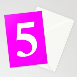 5 (WHITE & FUCHSIA NUMBERS) Stationery Cards