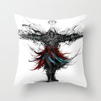 assassins creed Throw Pillows featuring assassins creed by ururuty