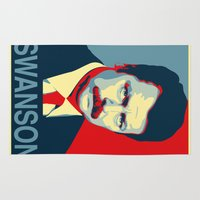 parks and recreation Area & Throw Rugs featuring Ron Swanson (Parks & Rec) 'Hope' Poster Parody by posteritty