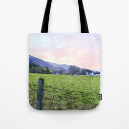 Dawn at Grasmere Farm with Sheep Grazing, Lake District, Cumbria, England. Watercolour Painting Tote Bag