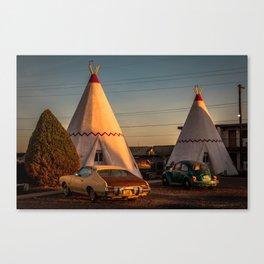 Sundown at Wigwam Motel Canvas Print
