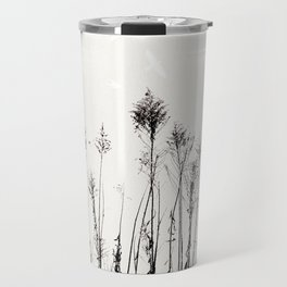 Dried Tall Plants and Flying White Birds Travel Mug