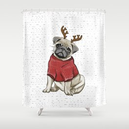 Reindeer Pug Shower Curtain