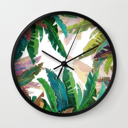 Waterclor round Leaves Wall Clock