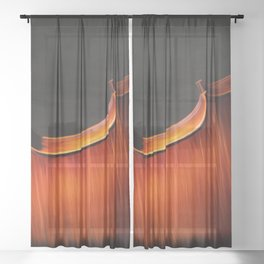 Silhouette of cello, musical painting Sheer Curtain