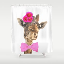Giraffe funny animal illustration Shower Curtain