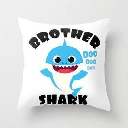 Brother Shark design Gift - Cute Baby Shark Matching Family Throw Pillow