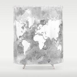 Design 49 Grayscale World Map Shower Curtain