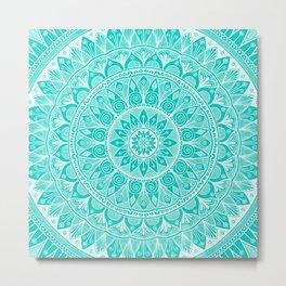 Turquoise and White Mandala 5 Metal Print