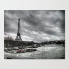 The Eiffel Tower and the Seine - Paris cityscape - hdr Canvas Print