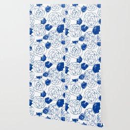 Blue blockprint roses Wallpaper
