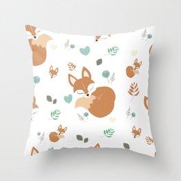 Cute Cartoon Sleepy Fox Pattern Throw Pillow